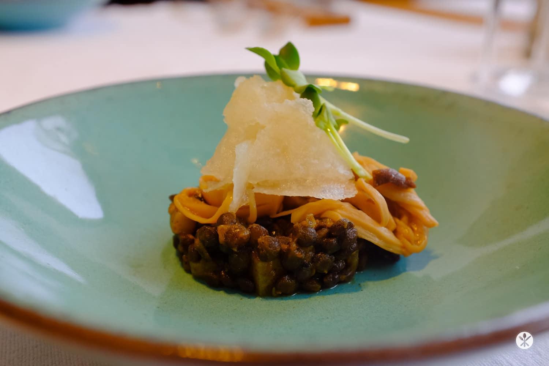 Salat von streifig gezupften Saitlingen auf Linsen mit frischem Rettich und Daikon-Kresse